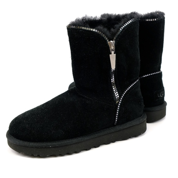 ddc2b5d23af UGG Florence Black Silver Zipper Sheepskin Boots NWT